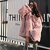 Плюшевая куртка шубка женская ,свободная толстая ,оверсайз свитер с капюшоном