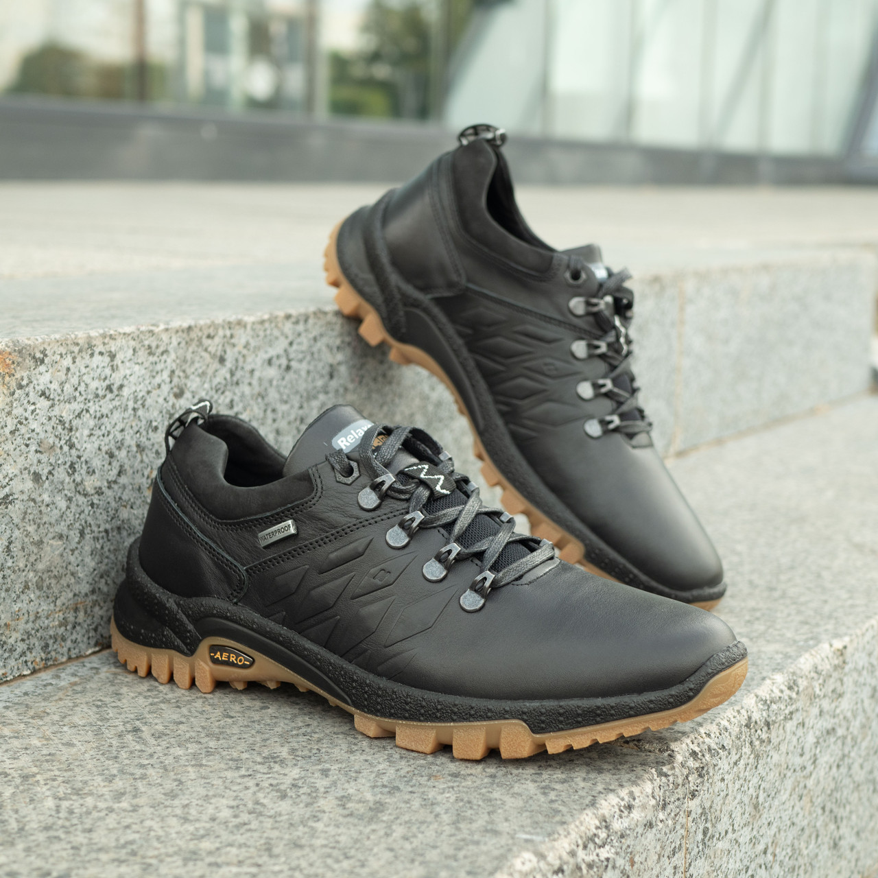 Мужские кожаные туфли спортивные   39-46 чёрный тайфун