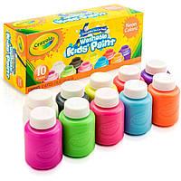 Набір змиваючих неонових фарб Crayola Washable Kids Paint, Neon Colors,10 кольорів (54-2390) (B01KQDP0L4)