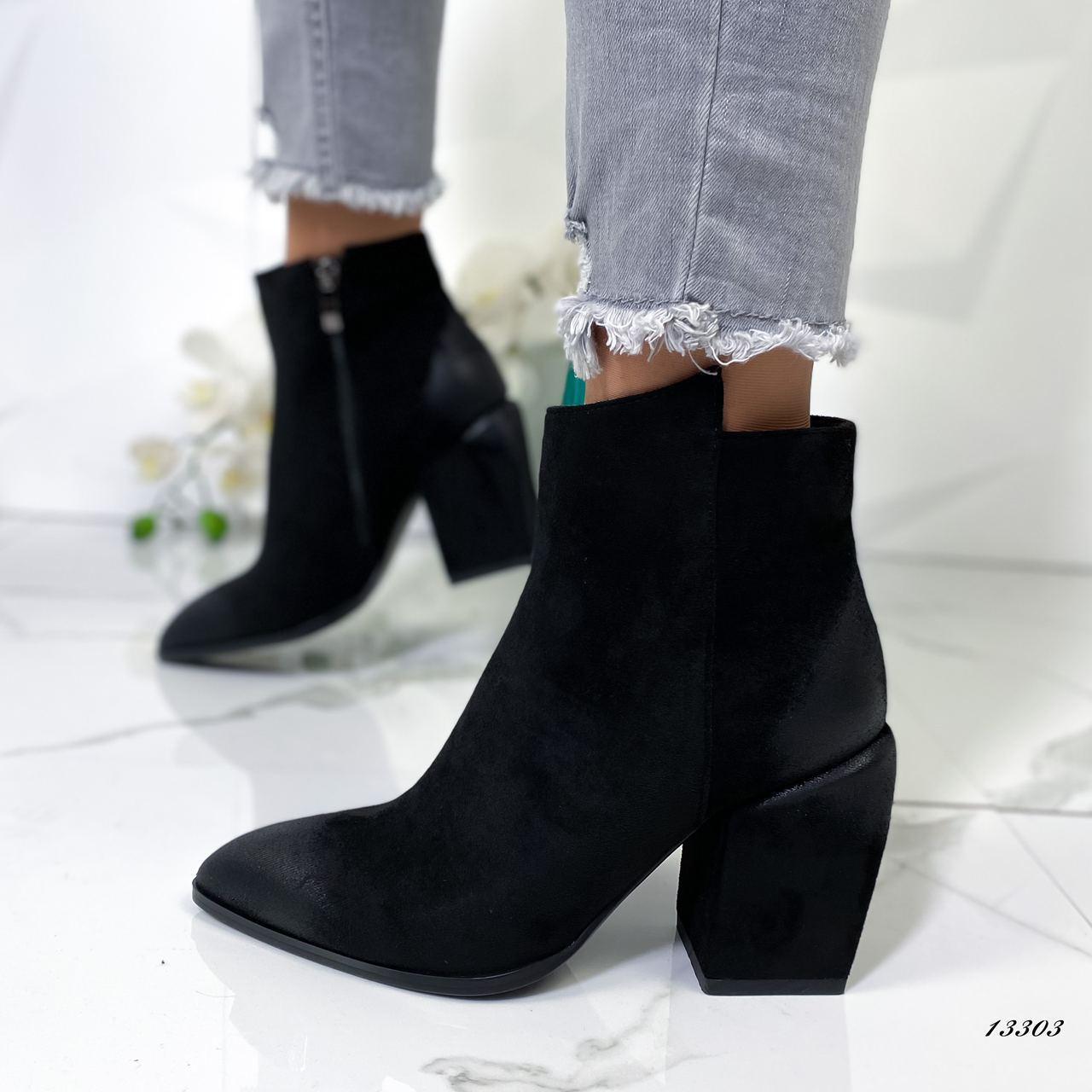 Женские ботильоны на каблуке замшевые чёрные