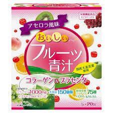 Yuwa Смачний фруктовий зелений сік Колаген і плацента 3 м х 20 пакетів