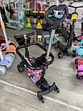 Самокат беговел Scooter 5 в 1 с бортиком, родительской ручкой и дополнительными колесами, Розовый, фото 2