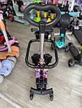 Самокат беговел Scooter 5 в 1 с бортиком, родительской ручкой и дополнительными колесами, Розовый, фото 5