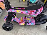 Самокат беговел Scooter 5 в 1 с бортиком, родительской ручкой и дополнительными колесами, Розовый, фото 7