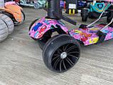 Самокат беговел Scooter 5 в 1 с бортиком, родительской ручкой и дополнительными колесами, Розовый, фото 8