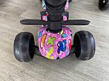 Самокат беговел Scooter 5 в 1 с бортиком, родительской ручкой и дополнительными колесами, Розовый, фото 10