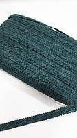"Изумрудная-зеленая тесьма ""шубная"" на разрез для рукоделия ,ширина 1.2см, фото 1"