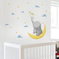 """Виниловые наклейки на стену, шкаф в детскую """"слоник с зайкой на луне ловят звезды"""" 85см*45см (лист 40*60см), фото 3"""