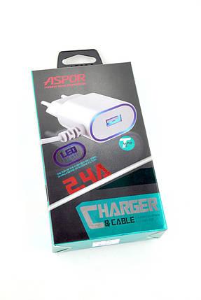 Зарядний пристрій Aspor A802 Plus 2400 mAh 1 Usb + кабель Type-C (цільна, Led підсвічування, orig 100%) white, фото 2