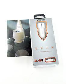 Автомобильное зарядное устройство Aspor A905 2400 mAh 2 Usb + кабель Lightning (Led подсветка) White