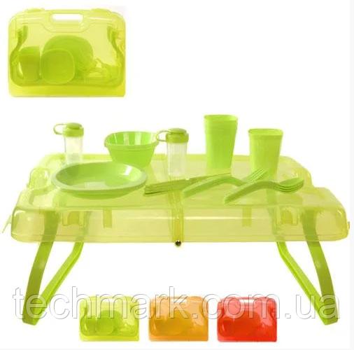 Набор для пикника на 4 персоны в кейсе (столик и посуда) 27 предметов