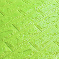 3Д панель декоративна стінова Зелений Цегла (самоклеючі 3d панелі для стін оригінал) 700x770x5 мм