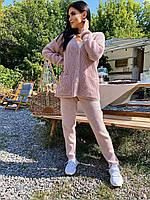 Женский стильный вязаный прогулочный костюмчик с кофтой на пуговицах (Пудра Кэмэл Черный Серый Молочный)