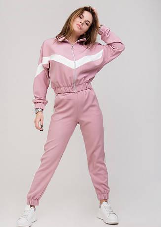 Женский спортивный костюм с укороченной толстовкой, розовый, р.46,50,52, фото 2