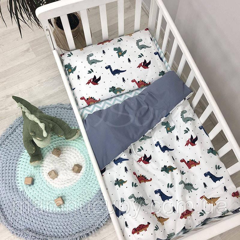 Комплект сменного постельного белья в кроватку Baby Design Дино синий ТМ «Маленькая Соня»