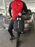 Чоловіча куртка вітровка + спортивний костюм Under Armour чорний, червоний, фото 3