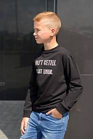 Свитшот (Кофта)  для мальчика подростка (134-152). Цвет черный. ТМ Hart