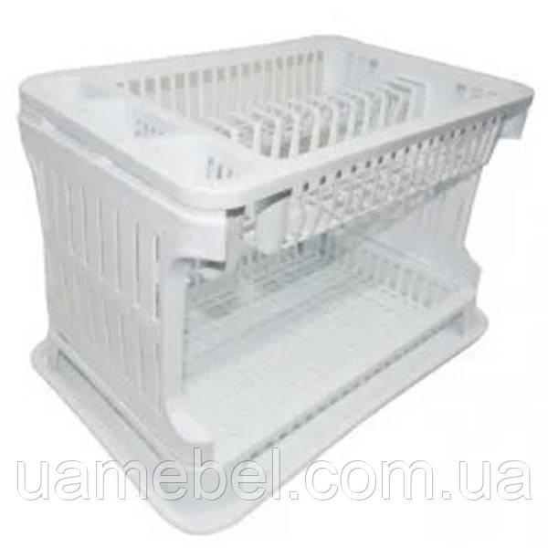 Сушка для посуды двухъярусная TP-492 Белая