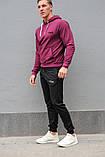 Мужской спортивный костюм FILA (Фила), бордовая худи и черные штаны весна-осень, фото 2