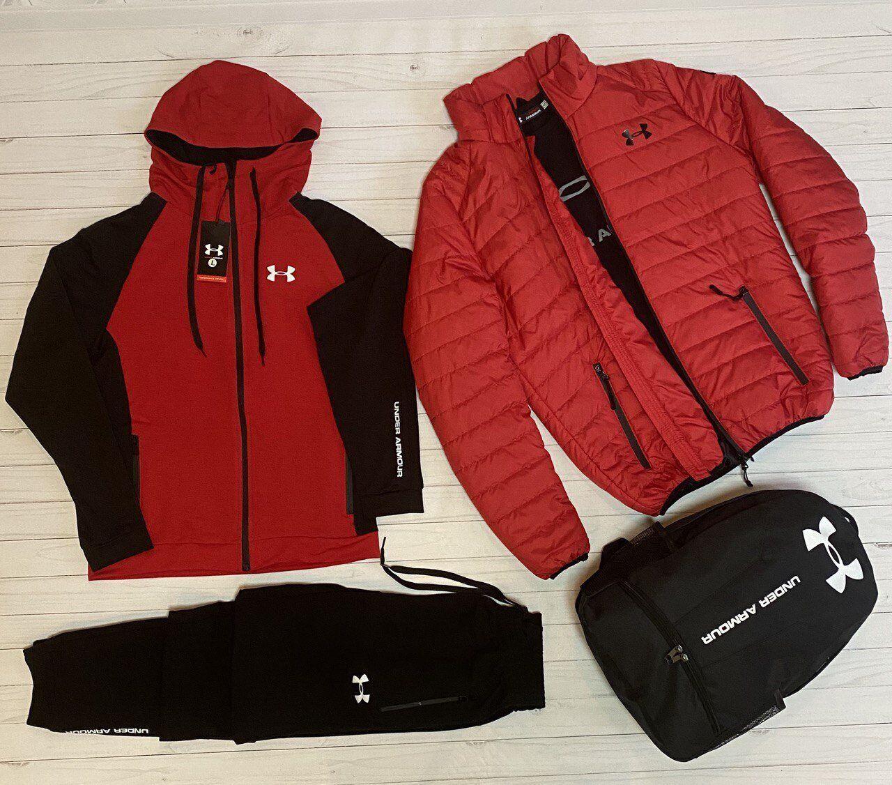 Чоловіча куртка вітровка + спортивний костюм Under Armour чорний, червоний
