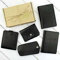 Подарунковий набір №23: обкладинка на паспорт + права + картхолдер + ключниця + портмоне П3 (чорний), фото 1