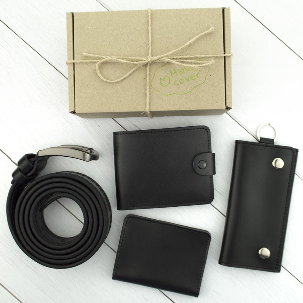Подарочный набор мужской №37: Ремень + портмоне + обложка на паспорт/права + ключница (черный)