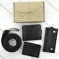 Подарочный набор мужской №37: Ремень + портмоне + обложка на паспорт/права + ключница (черный), фото 1