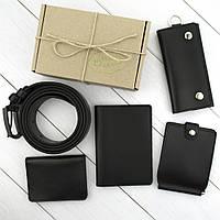 Подарочный набор №38: Ремень + зажим + обложка на паспорт + обложка на права + ключница