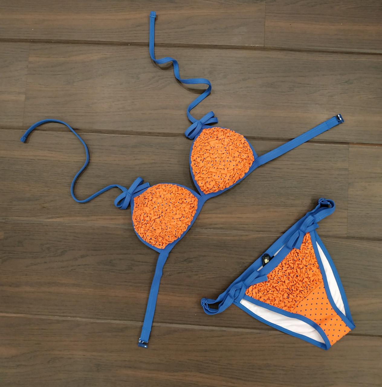 Купальник женский раздельный оранжевый с синим горошек П157