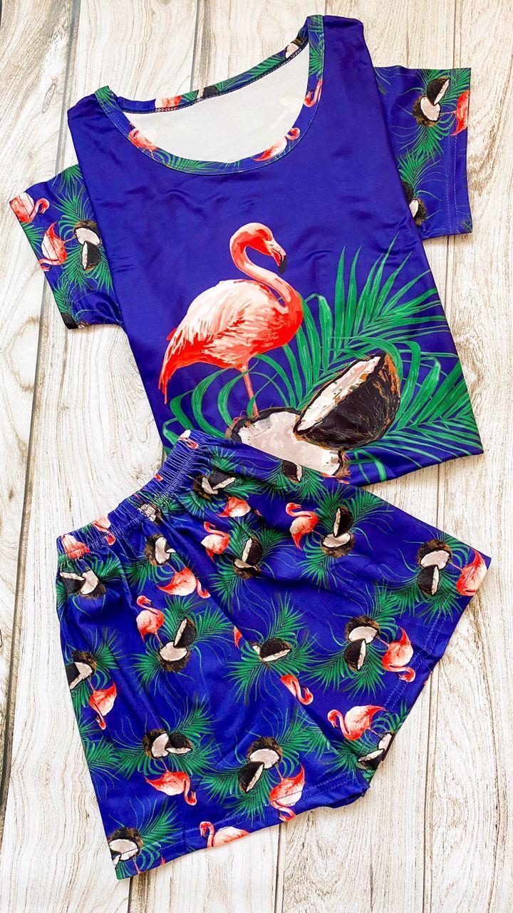 Женская пижама ( шорты + футболка ) Фламинго фиолнтовая КАЧЕСТВО ТОП!!!