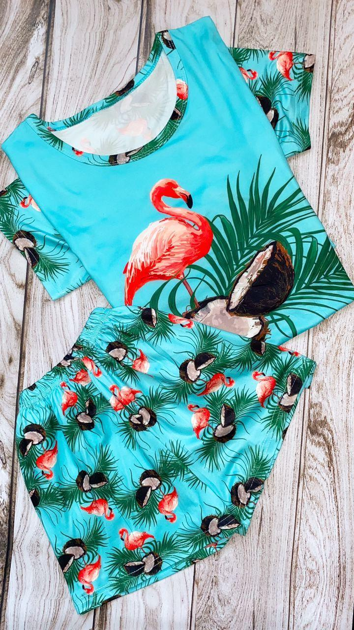 Женская пижама ( шорты + футболка ) Фламинго бирюзовая КАЧЕСТВО ТОП!!!