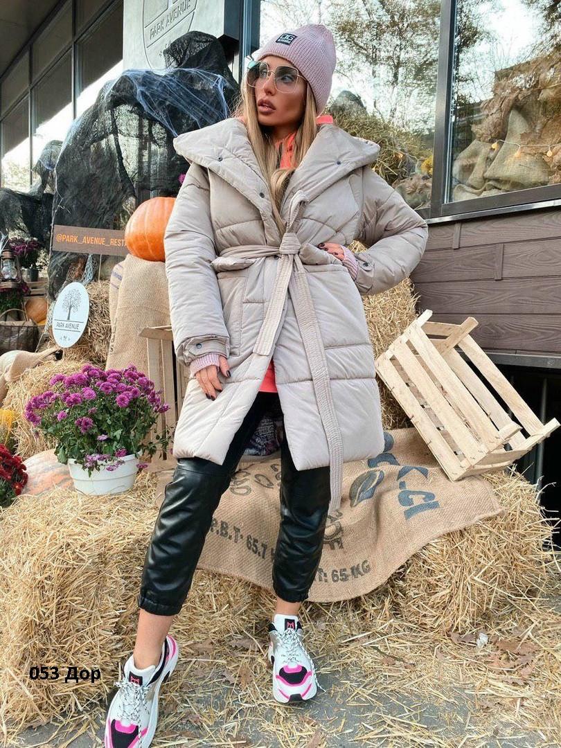 Стильная женская куртка с поясом  053 Дор