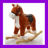 Качалка музыкальная лошадка с ограничителями MP 0081 Рыжий терракота Foxy