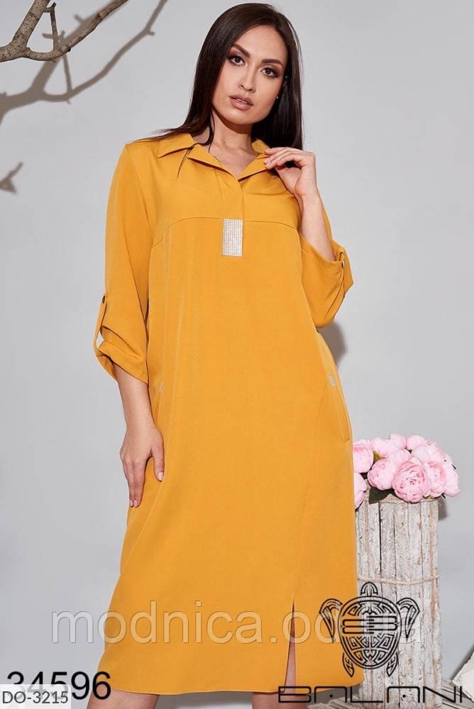 Весняне жіноче повсякденне плаття довжини міді батал, розмір 50-52, 54-56, 58-60