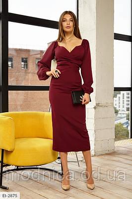 Сукня з об'ємними рукавами міді кольору бордо, розміри XS, S, M, L