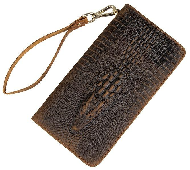Мужской клатч Vintage 14366 кожа под крокодила Коричневый