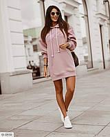 Милое короткое платье-толстовка с капюшоном, размеры 42-48