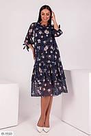 Красивое платье с цветочным узором большого размеры, размеры 50, 52, 54, 56