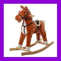 Качалка музыкальная лошадка с ограничителями MP 0082 Рыжий терракота Foxy