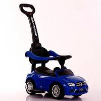 Детская машинка-каталка (толокар) Tilly T-936 BLUE с родительской ручкой музыкальный