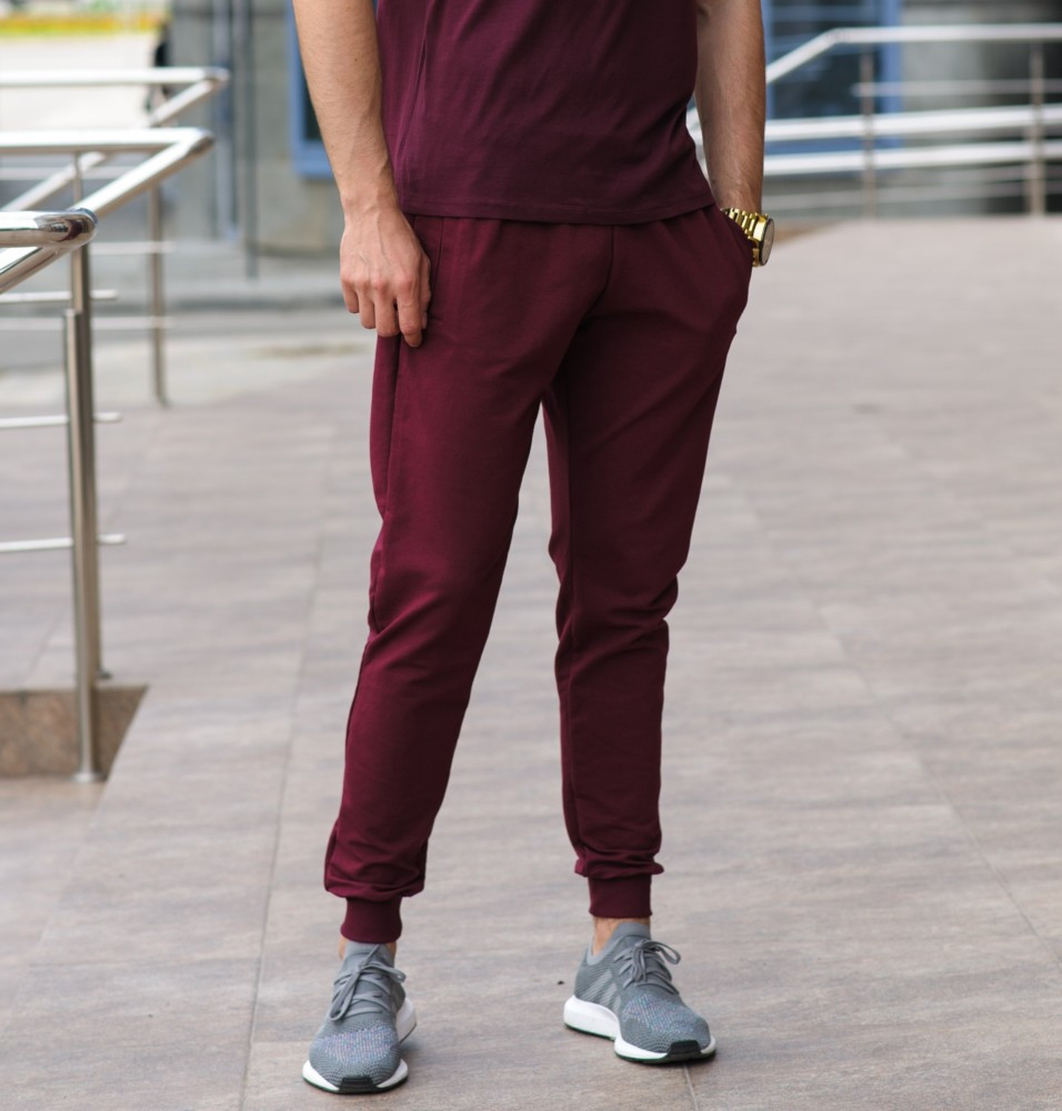Бордовые мужские спортивные штаны весна-осень