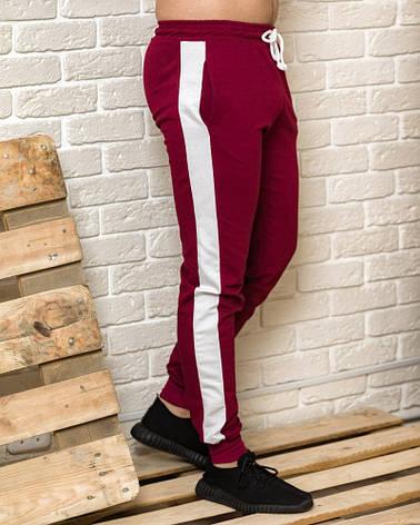 Бордовые мужские спортивные штаны с белыми лампасами весна-осень, фото 2
