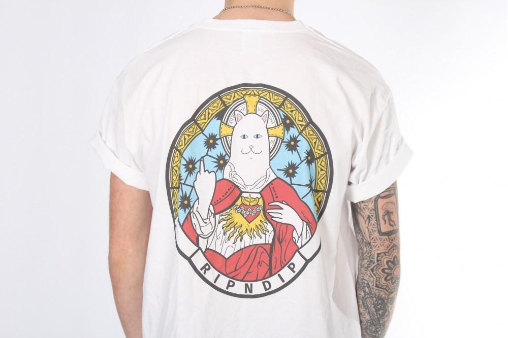 Белая футболка Ripndip кот на троне