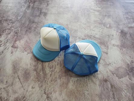Голубая кепка тракер с белой лобовой частью, фото 2