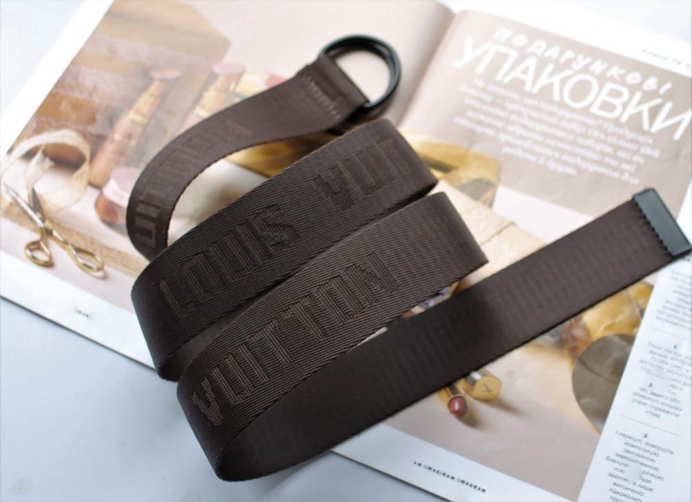 Тренд сезона тканевый ремень Louis Vuitton Brown