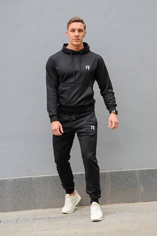 Черный мужской спортивный костюм Reebok (Рибок), весна-осень (реплика), фото 2