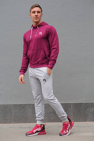Мужской спортивный костюм Reebok (Рибок), бордовая худи и серые штаны весна-осень (реплика), фото 2