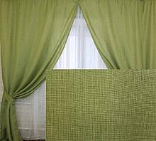 """Комплект готових штор колекція """"Льон Мішковина"""" Колір оливковий, код 106ш"""
