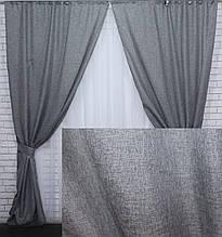 """Комплект готових штор колекція """"Льон Мішковина"""" Колір сірий, код 108ш"""