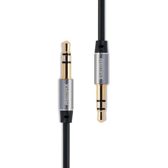 Кабель аудіо Remax (RM-L200 BLACK) металевий корпус коннектора, хороша міцність на розтяг 2.0 m 3.5 mm тато/3.5 mm тато